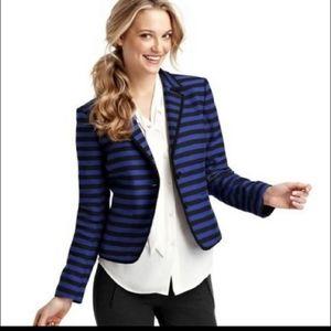 LOFT Blue Striped Career Work Blazer Jacket